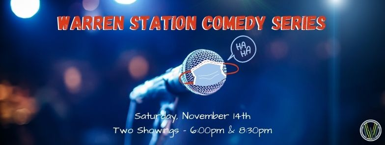 Warren Station Comedy Series With A Microphone With A Mask On It