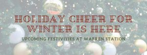 Holiday Cheer for Winter is Here! Blog title over Christmas Tree background