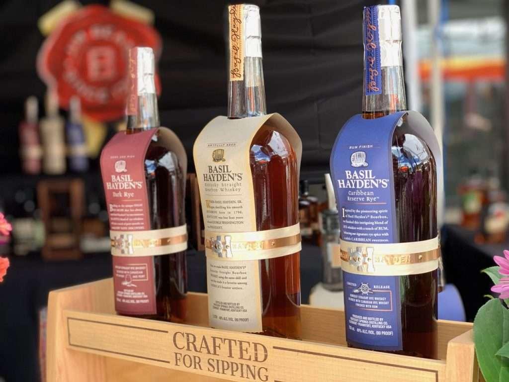 The Basil Hayden's bourbon trio bottles lined up