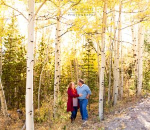 a couple hug each other lovingly under a canopy of yellow fall aspen leaves on boreas pass