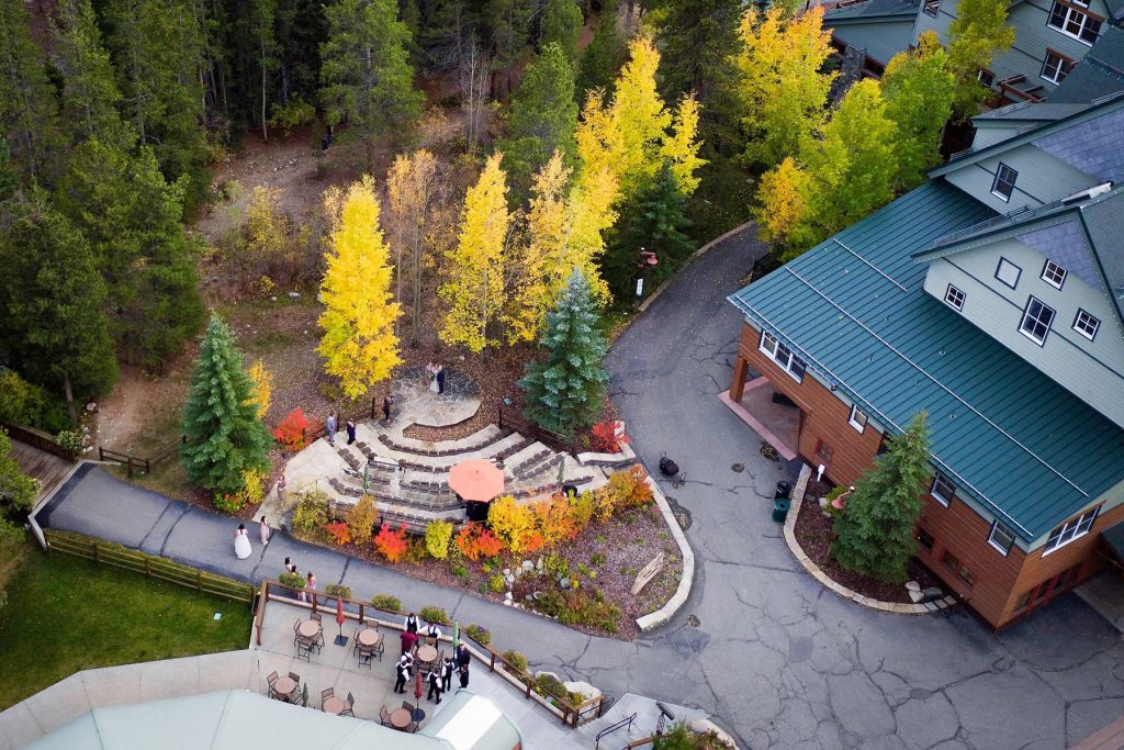 Ariel view of a Mountain Wedding Venue Keystone Colorado