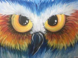 a close up painting of owl eyes