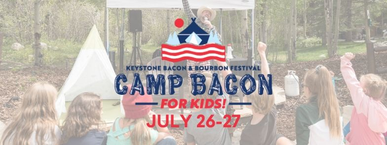 Marshall leads Camp Bacon kids in a Camp Bacon Cheer