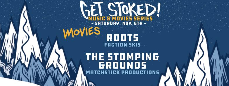 """blue mountain graphics with text """"Get Stoked! November 6th, Playing Roots and The Stomping Grounds"""""""