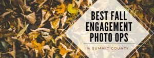 Best Fall Engagement Photo Ops in Summit County text over yellow leaf background