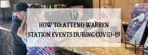 """""""How to: attend warren station events during covid-19"""" text over picture of couple wearing masks buying drinks from a bartender wearing a mask"""