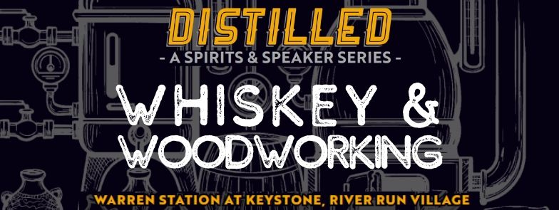 """whiskey and woodworking"" text over black barrel background"