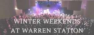 winter weekends at warren station text over concert crowd