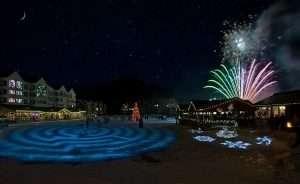 Lakeside Village at Keystone lit up by Keystone Fireworks